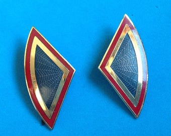 "Vintage! Nusi Nuri enamel pierced earrings spider web red & gold 1 1/2"" x 3/4""."