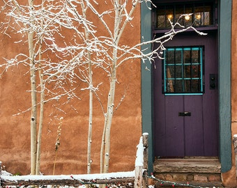 Purple Santa Fe Door with snow tipped branches