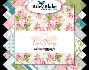 """Love Story 10"""" Fabric Squares Stacker by Webster's Pages for Riley Blake, 42 pieces"""