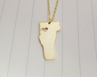 Vermont State Charm Necklace,Gold Vermont State Necklace,VT State Necklace,State Shaped Necklace  With A Heart