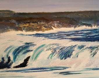 After The Storm, Ocean Seascape, Great Waves, Large Oil Painting, Powerful Surf, Pacific Ocean, 60, 31, Dan Leasure