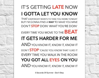 5 Seconds of Summer (5SOS) - Don't Stop - Lyrical Song Art Poster