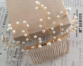 Bridal hair comb - bridal hair vine  - gold hair comb - wedding hair comb - wedding hair accessories. Rustic wedding