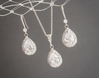 Wedding Jewelry SET, Crystal Bridal Jewelry Set, Wedding Earrings, Bridal Earrings, Bridal Pendant Necklace, CZ Teardrop Necklace, CELENA
