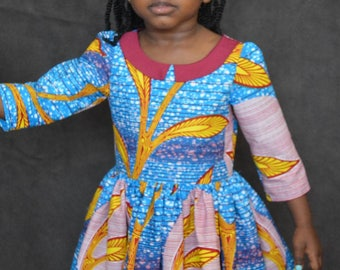 Blue Ankara collared dress