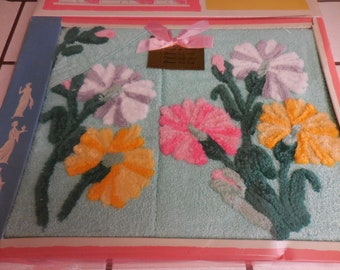 Vintage Cannon New Old Stock AQUA 3 Piece TOWEL Set with Chenille FLOWERS and Leaves in Original Box