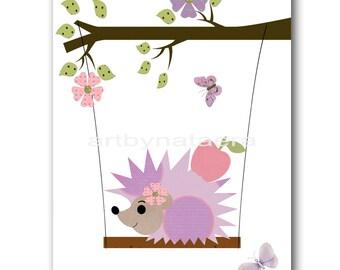Baby Nursery Print Baby Girl Nursery Decor Art for Kids Wall Art Baby Girl Room Decor Kids Room Decor Baby Decor Hedgehog Purple Pink