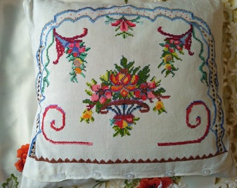 Pillow with embroidered pillowcase