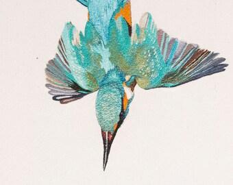 Kingfisher Embroidery Giclée Fine Art Print