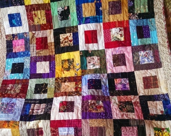 Scrap Quilt, Lap Quilt, Child's Quilt. Baby Quilt. Sofa quilt. Bright colors. Free motion quilted. Approx. 40 x 52.5 inches