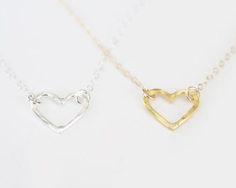 Tiny Heart Necklace - Open Heart Necklace - Sterling Silver or Gold Vermeil