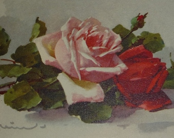 NEW Listing**A/S C. Klein Pink and Red Roses Vintage  Deckled Edge Art Postcard