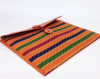 Handmade genuine Leather & Quilted Cotton iPad cover, iPad Cover , Leather fabric iPad cover for women in Orange , leather iPad sleeve