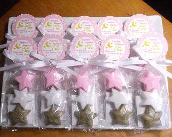 Twinkle Twinkle Little Star First Birthday - Twinkle Little Star Birthday, Pink Gold Twinkle Star Party Favors - Set of 10