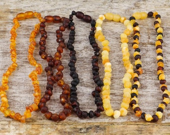 Amber teething necklace | Quality amber necklace 32 cm | 12.6 inch | Amber necklace for kids / babies | Pure amber jewelry | Natural Baltic