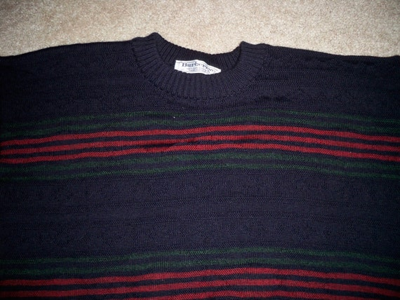 Pure Biggie Ugly 3D Vintage in England 42 Wool Made Size Sweater Crewneck Burberrys Men's Textured qXt8RX