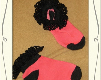 Hand Crocheted Lace edged Anklet's, hot pink with black accents striped anklet, ankle socks, sock size 4 to 6