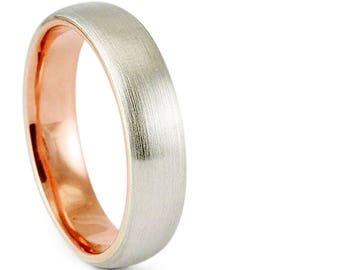 Solid 4mm 14k Two Tone White Rose Gold Brush Satin Finish Comfort Fit Wedding Band Ring // His Hers // All Sizes