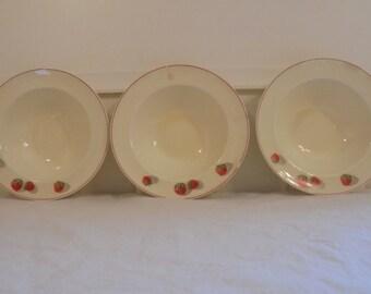 Rare Vintage Cavitt Shaw Division W.S. George Shortcake Pattern Strawberry Design Set of Three 8 inch Soup Bowls 1940u0027s Era Strawberry Dish & 1940s strawberry   Etsy