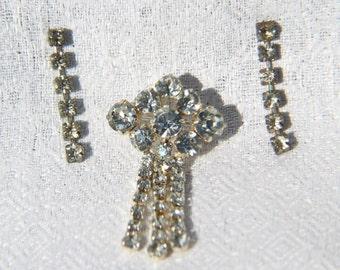 Vtg 50s Rhinestone Set of Pin and Earrings