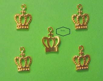 LOT 5 METALS CHARMS Gold: Crown 14 mm