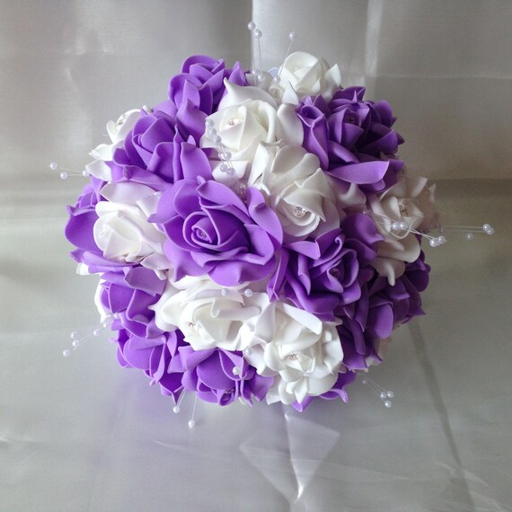 Lavender Wedding Bouquet White Rose Bouquet Artificial