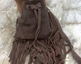 Leather Fringe Bag, Brown Tassel Bag, Suede Bag, Boho Style Bucket Bag, Fringe Handbag, Crossbody Fringe Bag, Brown Shoulder Bag