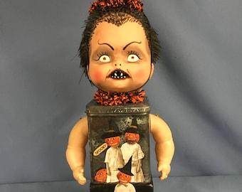 Vintage assemblage Halloween eclectic antique art doll 3-D collage sculpture