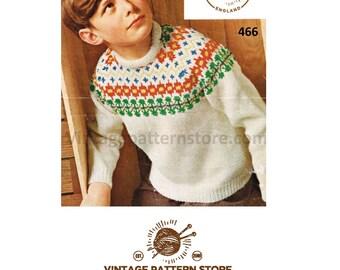 "Boys 1980s, bold fair isle yoke, crew neck, raglan sleeve sweater - 24"" - 30"" chest - Vintage PDF Knitting Pattern 466"
