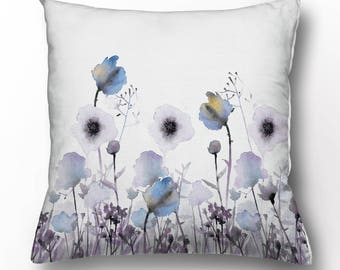 Linen cushion cover - pastel poppies - pillow cases - pillow covers pattern - pillow with zipper - animated pillow