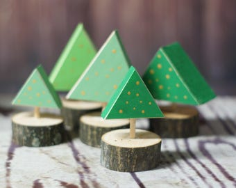 Mini Christmas Tree Set - Rustic Christmas Tree Decor - Primitive Christmas Decorations - Christmas Mantle Decorations - Christmas Table