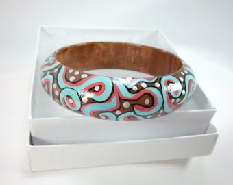 Wood Bracelet, Turquoise and Coral with Silver, Hand-Painted, Free-Form, Design, Wood Bangle