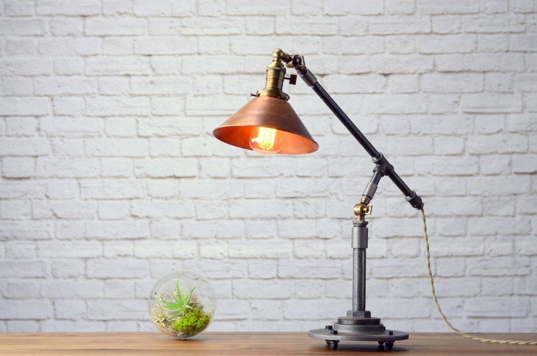 🔎zoom - Industrial Table Lamp Edison Desk Lamp Copper Lamp Pipe