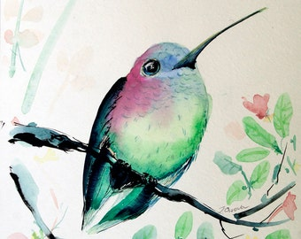 Small Hummingbird painting Original Watercolor painting 8 x 10 bird Art Original artwork Bird painting Bird Pictures Watercolor Bird Art