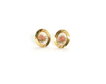 Rose Ear Posts - Rose Studs - Vintage Cabochons - Pink Rose Earrings - Pastilles Ear Posts (SD1100)