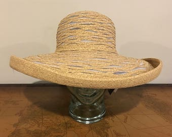 DANIELE MEUCCI wide brim straw hat | new vintage with tag | white polyester and paper straw blend | made in Italy | 90's vintage
