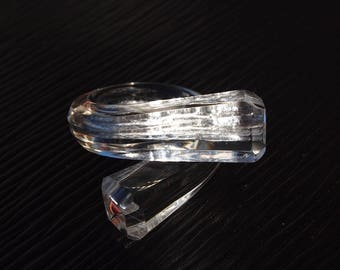 """Ring (O 53) """"Facets"""" transparent with silver, simple and Chic but above all... Unbreakable!"""