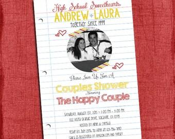 High School Sweethearts Couples Wedding Shower 4x6 or 5x7 Invitation - I Design You print