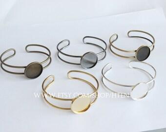 5pcs 20mm 25mm Adjustable Brass Bracelet Base, Bracelet Supply,Blank Bracelet Cuff, Bezel Bracelet Bangle,Round Settings