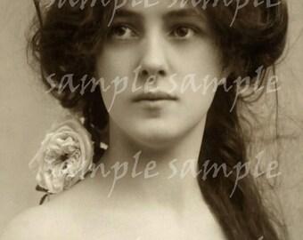 Instant Download Digital Scan ANTIQUE Vintage photograph Beautiful Victorian Woman Queen Princess Antique FRENCH Postcard Bohemian Boho