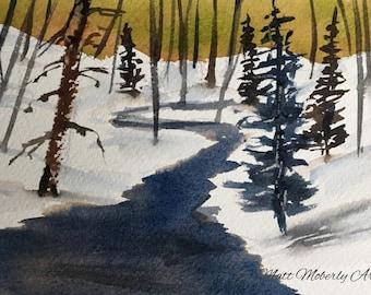 Original Watercolor Winter Scene