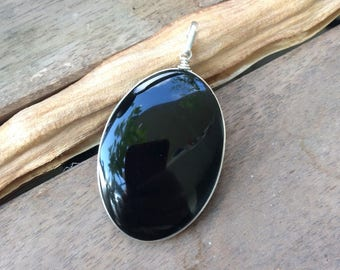 Obsidian pendant etsy black obsidian pendant volcanic lava natural stone sterling silver pendant mexican obsidian aloadofball Choice Image