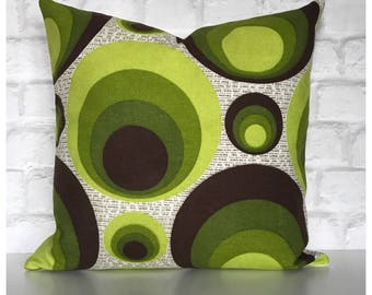 Funky Original Vintage Green Psychedelic Fabric Cushion Cover  Retro Throw Pillow