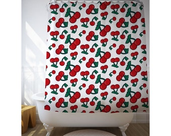 Cherries Bath Art, Shower Curtain, Illustration Art, Printed Curtain, Kids Bathroom Art