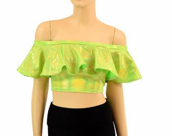 Lime Green Holographic Off Shoulder Crop Top Sleeveless Lycra Spandex Clubwear Festival Rave Burning Man Ruffle Frills - 155028