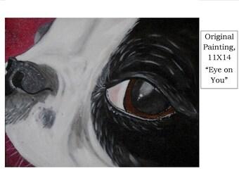 Original Acrylics Dog Painting - Boston Terrier dog, OOAK, Folkart, whimsical, 11X14, Art