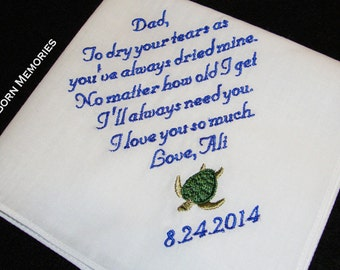 Personalized Father of the Bride Handkerchief, I Will Always Need You - Wedding Day Keepsake - Thread Born Memories