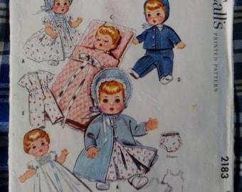 Vintage Baby Doll Wardrobe Pattern 1957 McCall's #2183 Not A PDF Copy