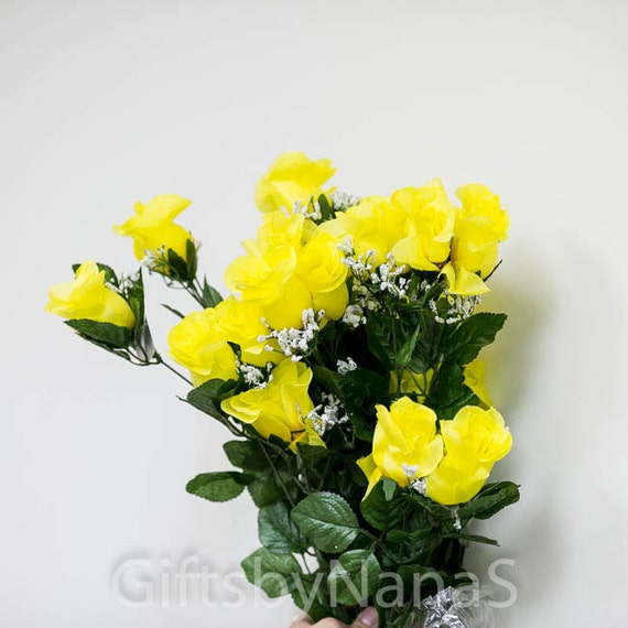 24pc yellow silk flowers large silk roses canary yellow like this item mightylinksfo Gallery