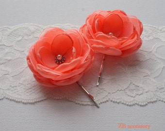 Coral Red Small fabric Flowers, Hair Pins Clips Grips, Shoe Clips, Dress Sash brooch Ornaments, Bridesmaids  Accessories, Handmade Gift UK